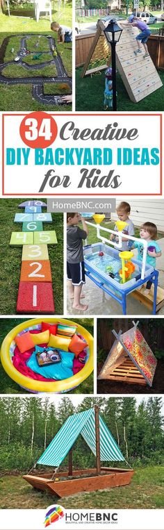 DIY Backyard Projects For Kids (sandbox boat, PVC sand/water table, pastel sand/water table)