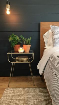 Black shiplap and side table Master Bath, Nightstand, Cozy, New Homes, Bed, Table, Furniture, Home Decor, Homemade Home Decor
