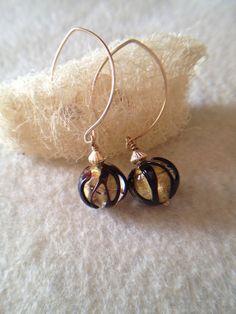 Venetian Glass Earrings Dangle Earrings Gold by LadonnaStudio, $48.00