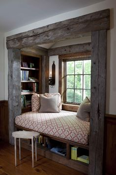 Doesn't this window nook look like an awesome place to curl up and read a book or take a little nap! I've always wanted one of these!