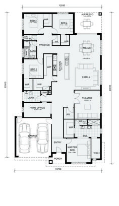 Beautiful Home Designs - Mandurah 326 - Mimosa Homes Best House Plans, Dream House Plans, House Floor Plans, Large Open Plan Kitchens, 4 Bedroom House Plans, Home Design Floor Plans, Beautiful Home Designs, Bungalow House Design, House Blueprints