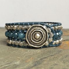 3 Row Leather Blue Boho Cuff Bracelet with by BohoJewelryBoutique