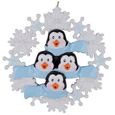 Personalized Penguin Family with Snowflake of 4 Ornament *** You can find out more details at the link of the image.