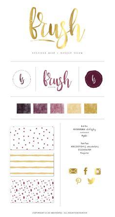 PRE-DESIGN Brush Calligraphy Logo Branding Package by LuxeBranding.  Brush Logo.  Modern Logo.  Custom Fitted Logo. Purple and gold branding.  Logo branding.  Logo brand board.
