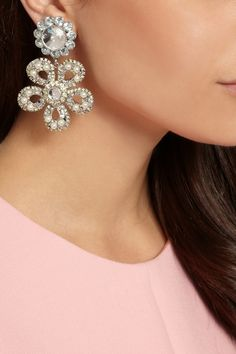 Miu Miu | Silver-plated, Swarovski pearl and crystal clip earrings | NET-A-PORTER.COM