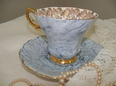 Vintage - ROYAL ALBERT  Gossamer pattern - un-named - SHELLEY style teacup - blue marble - stunning - excellent condition
