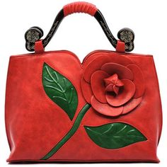 Red 3D Flower Blossom  Wooden Top Handle Bag