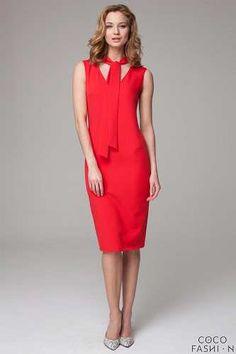 Prezzi e Sconti: #Red slim fit midi dress with self tie scarf  ad Euro 35.09 in #Cocofashion #Clothing dresses
