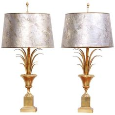 Pair of Maison Charles Table Lamps with Original Shades in Brass, France 1970s | See more antique and modern Table Lamps at https://www.1stdibs.com/furniture/lighting/table-lamps