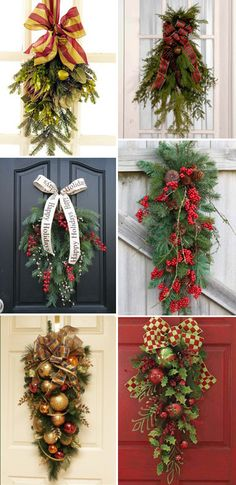 Christmas Door Decorations- I like these so much more than wreaths. Christmas Swags, Noel Christmas, Outdoor Christmas, Country Christmas, Winter Christmas, All Things Christmas, Burlap Christmas, Primitive Christmas, Christmas Wedding