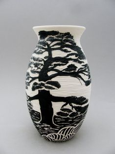 Asian Landscape Series: Black and White Hand Painted and Carved Ceramic Vase, Bonsai Tree and Landscape Design, Functional Art Pottery Porcelain Jewelry, Porcelain Ceramics, Ceramic Vase, Ceramic Pottery, Pottery Art, Fine Porcelain, Painted Porcelain, Ceramic Painting, White Ceramics