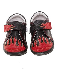 Love this Jack & Lily Black & Red Jessie Leather Sneaker by Jack & Lily on #zulily! #zulilyfinds