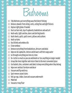 Bedrooms spring clean checklist c/- forever organised
