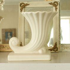Vintage McCoy Matte White Cornucopia Vase