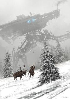 1920 - winter walker, Jakub Rozalski on ArtStation at https://www.artstation.com/artwork/9BA6L