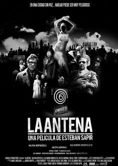 La Antena (Esteban Sapir, 2007), an Argentine black and white silent film with dystopian and science fiction themes, set in an unnamed city where everyone has lost their voice. Find this at 791.43782 ANT