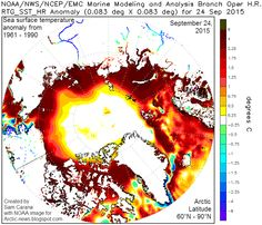 Above image shows Arctic sea surface temperature anomalies as at September 24, 2015.