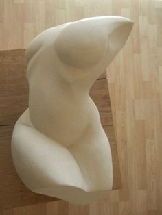 Portland lime stone Portrait /commission sculpture by artist Mark Stonestreet titled: 'Emma (Stone semi Abstract Nude Torso statue)'