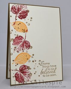 Tina's lovely French Foliage card has a fall palette of Cherry Cobbler, Soft Suede, More Mustard.