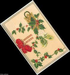 C027 GREETINGS SINCERE LUCKY HORSESHOE HOLLY BERRIES NO SANTA EMB 1916 POSTCARD  #Christmas