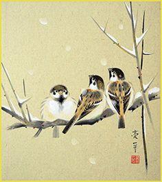 Eurasian tree sparrow by Ryohei Kimura - Japanese bird art shikishi
