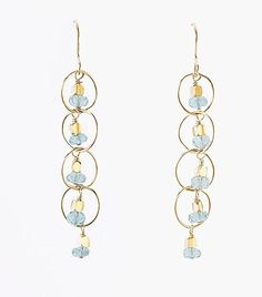Elephan Heart Jewelry Waterfall Earrings, cascade of Apatite and 14k gold fill, $78.00, light blue