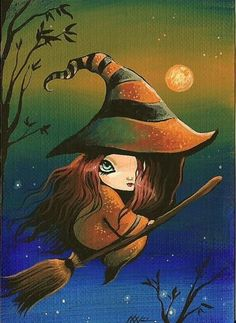 Witch Night - by Nico Niemi from ACEO Art Card Editions Originals Art Gallery Witch Pictures, Halloween Pictures, Halloween Art, Holidays Halloween, Happy Halloween, Fantasy Kunst, Fantasy Art, Witch Art, Witch Painting