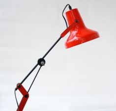 Vintage BRUNS Industrial Adjustable Desk Lamp // 60s 70s Red Lighting Architect Anglepoise Clamp Drafting Enamel Modernist Made in Germany