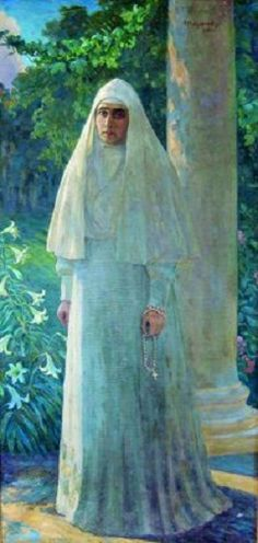 "Portrait of Grand Duchess Elisabeth-Elizabeth  ""Ella"" (Elisabeth Alexandra Louise Alice) (Elizabeth Feodorovna) (1 Nov 1864-18 Jul 1918)  Hesse, Germany after the murder of her husband when she became a Nun by I. M. Mitrofanov in 1917. Wife of Grand Duke Sergei Alexandrovich Romanov (1857-1905) Russia & 2nd Child of child of King Louis IV (1837-1892) Hesse, Germany & Princess Alice (1843-1878) UK. The Romanovs in art. #art #painting #Russia #Romanov"