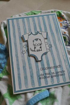hand crafted baby card from Stembelsche .. onesie on watercolor stripes ... sweet! ... Stampin' Up!