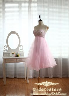 Custom Made Pink Beaded Bodice Prom Dress,Tulle Homecoming Dress,Sweetheart Party Dress,Bridesmaid Dress