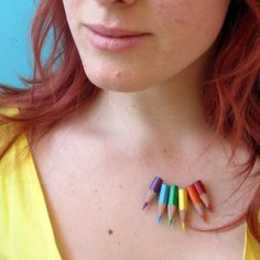 Repurposed color colored pencils into this unique necklace - perfect for teachers and artists!  By Caught on a Whim, featured @savedbyloves.  Upcycle, Recycle, Salvage, diy, thrift, flea, repurpose, refashion!  For vintage ideas and goods shop at Estate ReSale & ReDesign, Bonita Springs, FL