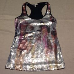 Sequined tank top, Moa Moa, size L, made in USA. Sequins on the front only.  The back is black, lightweight, stretchy, polyester.  Size L.  Very versatile. Moa Moa Tops Tank Tops