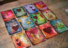 52 Pick-Me-Up Cards - lafleur Art Journal Pages, Journal Cards, Art Journals, Atc Cards, Card Tags, Gift Tags, Mix Media, Paper Art, Paper Crafts