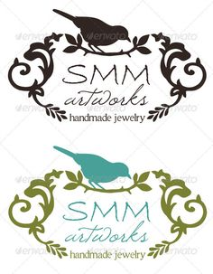 Vector Logo- $29, artist, bird, black and white, branches, business, environment, feminine, frame, green, hand drawn, handmade, horizontal, illustration, jewelry, leaves, nature, organic, perched, pretty, print, script, scrolls, silhouette, teal, vintage, set