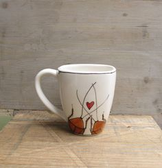 Ceramic cockroach coffee mug Valentine's day by catherinereece, $20.00