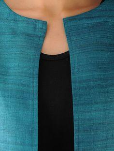 Turquoise Ghicha Silk Jacket Silk Coat, Silk Jacket, Jacket Style, Dress Indian Style, Jackets Online, Office Wear, Kurtis, Dress Patterns, Baby Dress