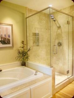 shower next to tub design | ... size bath tub the average bathtub will hold 40 to 60 gallons when