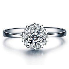 Round Shape Blossom Diamond Engagement Ring 950 Platinum Setting Art Deco Diamond Ring