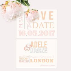 Soft Pink Typographic Save the Dates