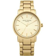 TopShop Daisy Dixon Kate Gold Bracelet Watch (€70) ❤ liked on Polyvore featuring jewelry, watches, accessories, gold, topshop, gold jewellery, water resistant watches, yellow gold watches and gold watch bracelet