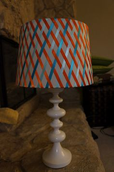 """Story Sewing: Lamp """"Refashion"""" Chocolate and a dark blue on a white lamp shade. Pleated Lamp Shades, Square Lamp Shades, Small Lamp Shades, Floor Lamp Shades, Table Lamp Shades, Lampshade Redo, Wooden Lampshade, Lampshade Designs, Lampshade Ideas"""