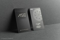 Modern pattern quick laser engraved black metal business card - ASE