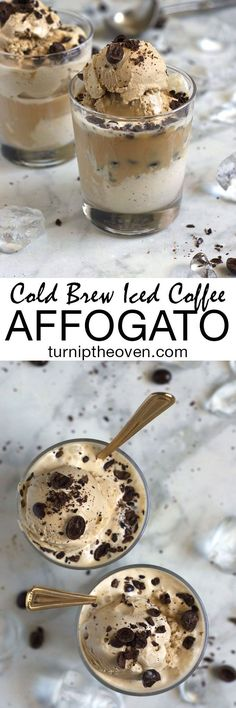 Cold Brew Iced Coffee Affogato - Classic affogato gets a makeover with cold brew iced coffee, coffee ice cream, and crushed chocolate covered espresso beans. This easy, elegant, four ingredient dessert is sure to be a hit! | Turnip the Oven