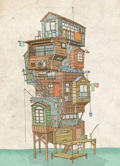 Home on the water by Shinsaku Iwatachi, via Behance
