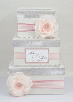 Card box / Wedding Box / Wedding money box – 3 tier – ombre pink – Personalized – The Best Ideas Wedding Envelope Box, Wedding Gift Card Box, Money Box Wedding, Gift Card Boxes, Wedding Envelopes, Wedding Boxes, Wedding Signs, Wedding Cards, Diy Wedding