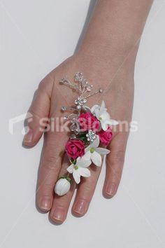 Fuchsia Mini Rose & White Jasmine Wedding Prom Ring Corsage