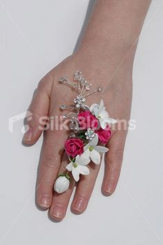 Fuchsia Mini Rose & White Jasmine Wedding Prom Ring Corsage