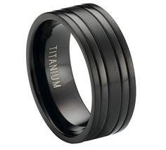 Black Titanium Ring :: Two Raised Polished Bands