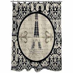 "Thumbprintz Paris Damask Eiffel Tower Shower Curtain, 71"" x 74"""